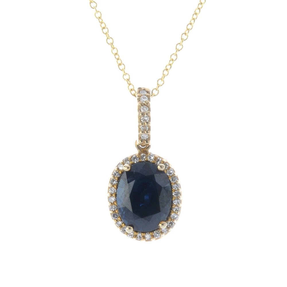 A 9ct gold sapphire and diamond cluster pendant, with