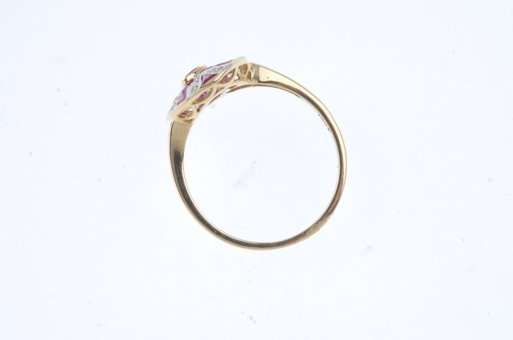 A ruby and diamond dress ring. Of oval outline, the - 2