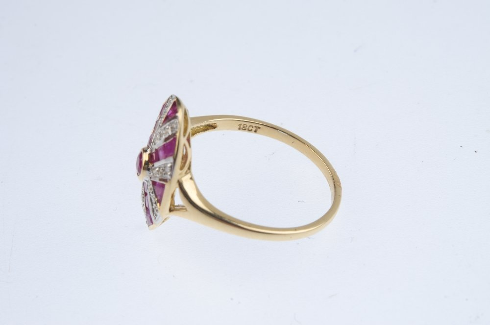A ruby and diamond dress ring. Of oval outline, the - 3