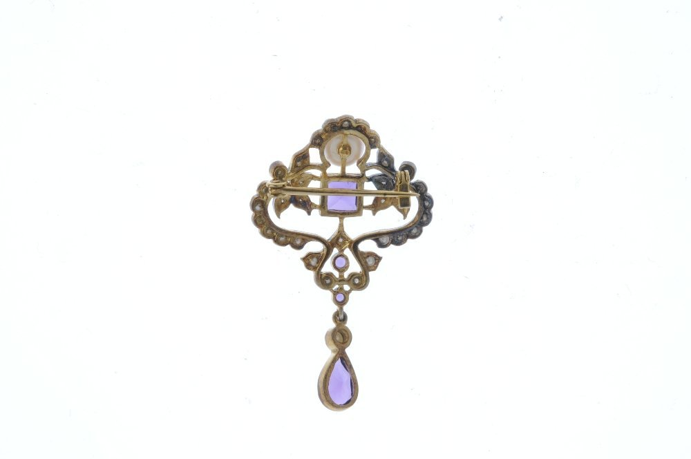 An amethyst, diamond, split pearl and cultured pearl - 2