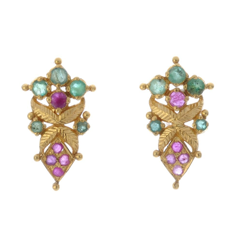 A pair of ruby and emerald earrings. Each designed as a