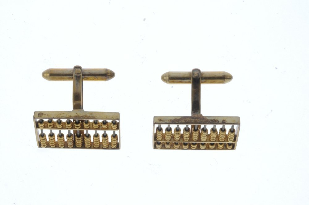 A pair of Abacus cufflinks. Each designed as an Abacus, - 2
