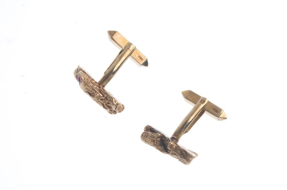 A pair of 1960s 9ct gold ruby cufflinks. Each designed - 2