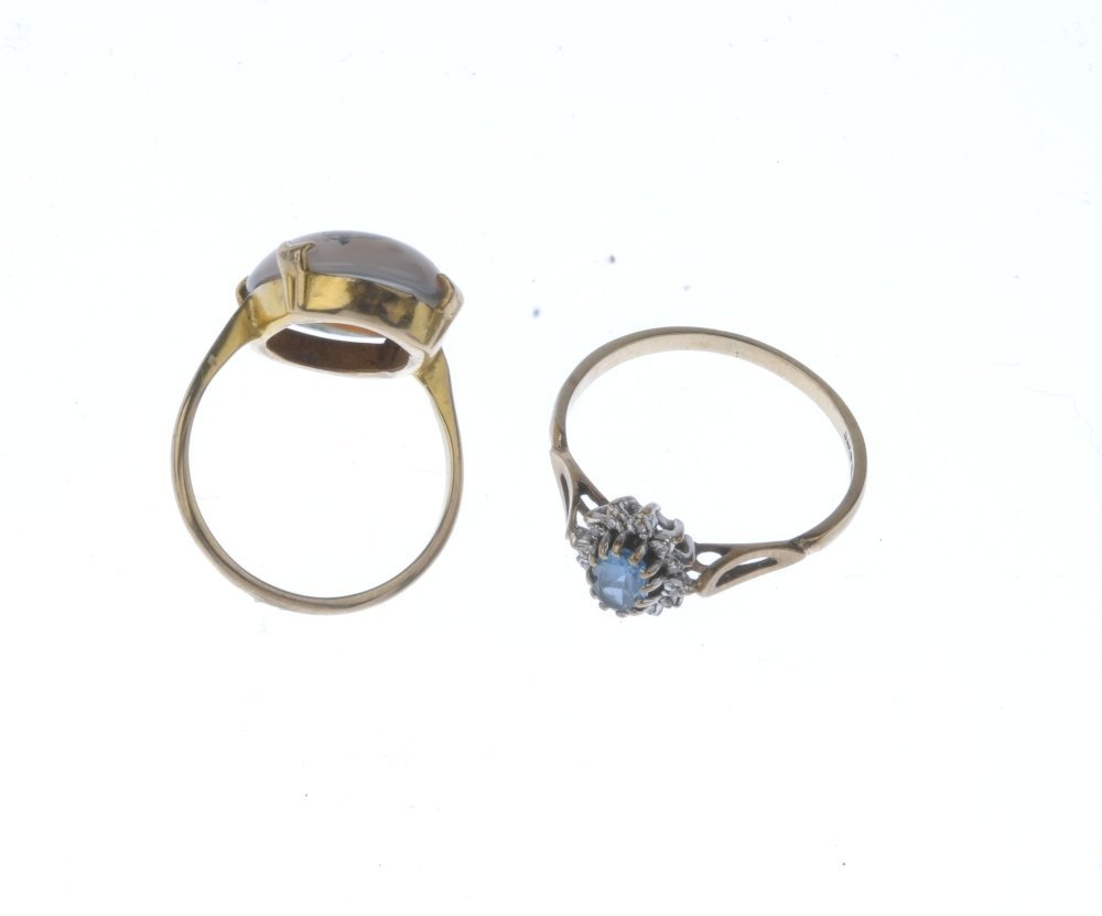 (9000360-6-A) Two 9ct gold gem-set rings. To include a - 2