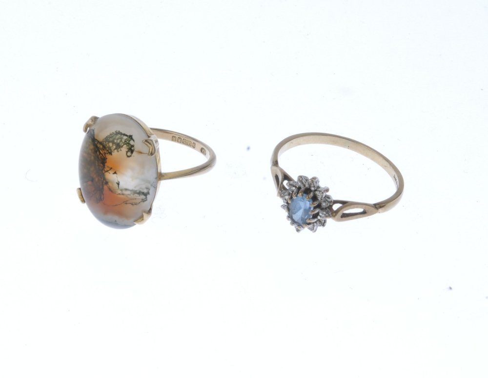 (9000360-6-A) Two 9ct gold gem-set rings. To include a - 3