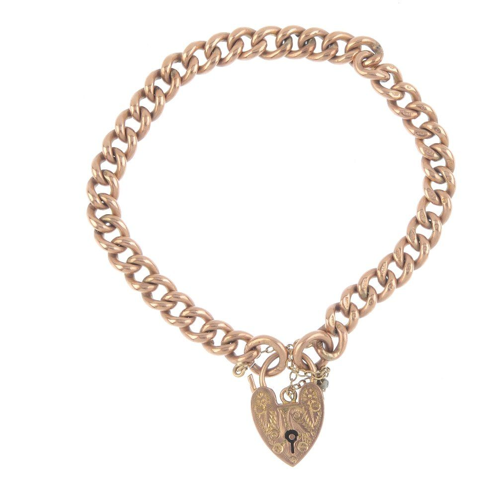 An early 20th century 9ct gold curb-link bracelet. The