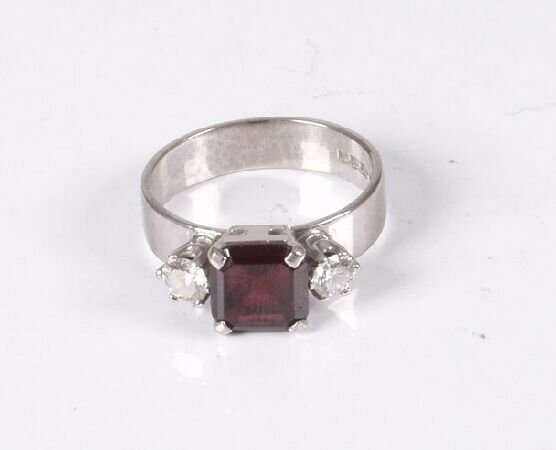 1: 1970's 18ct white gold square cut garnet and diamond