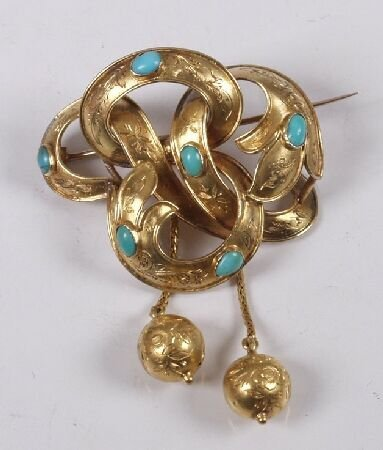 19: Victorian gold turquoise set brooch, of openwork kn