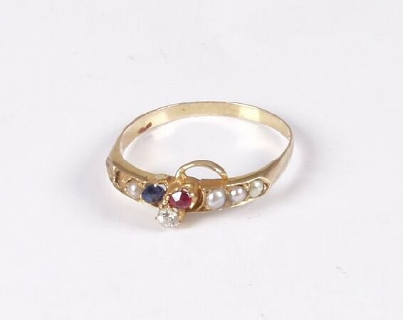 23: Late Victorian 18ct gold ruby, sapphire and old cut