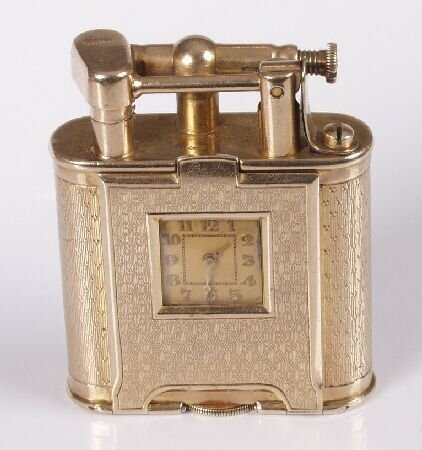 754: DUNHILL - 9ct gold petrol lighter, of engine turne