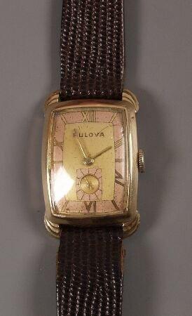 1014: BULOVA - gentleman's 1930's/40's gold plated shap