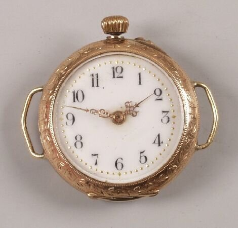 1147: Continental 14k rose gold fob watch converted to