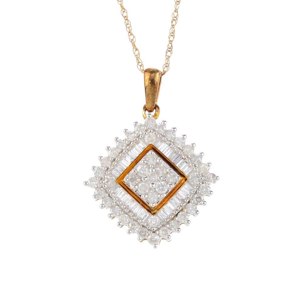 A 9ct gold diamond pendant. The pave-set diamond