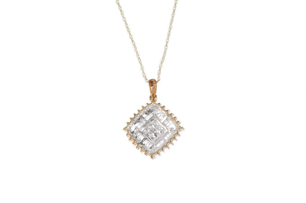 A 9ct gold diamond pendant. The pave-set diamond - 2