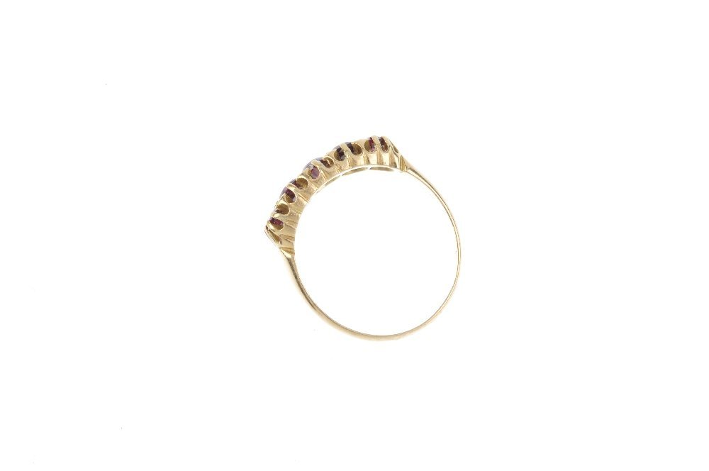 An Edwardian 18ct gold garnet five-stone ring. The - 2