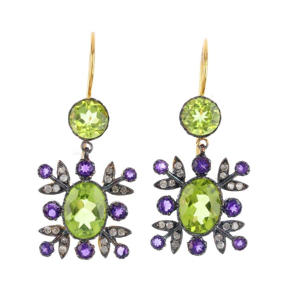 A pair of peridot, amethyst and diamond earrings. Each
