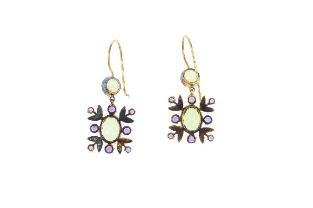 A pair of peridot, amethyst and diamond earrings. Each - 2