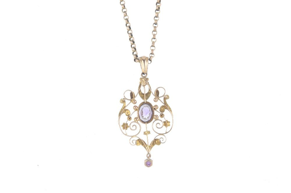 An early 20th century gem-set pendant. The oval-shape - 2