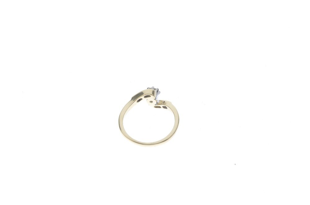 An 18ct gold diamond crossover ring. The brilliant-cut - 3