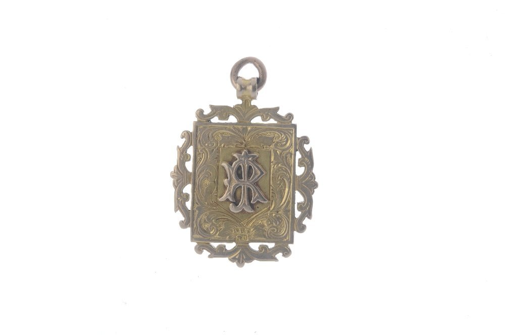 A late Victorian 9ct gold medallion. The rectangular - 2