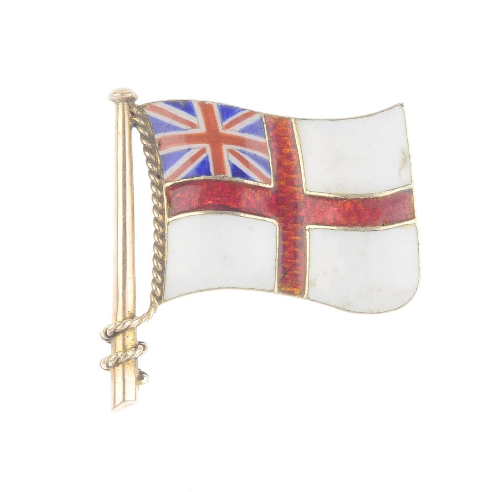 An early 20th century 9ct gold White Ensign flag