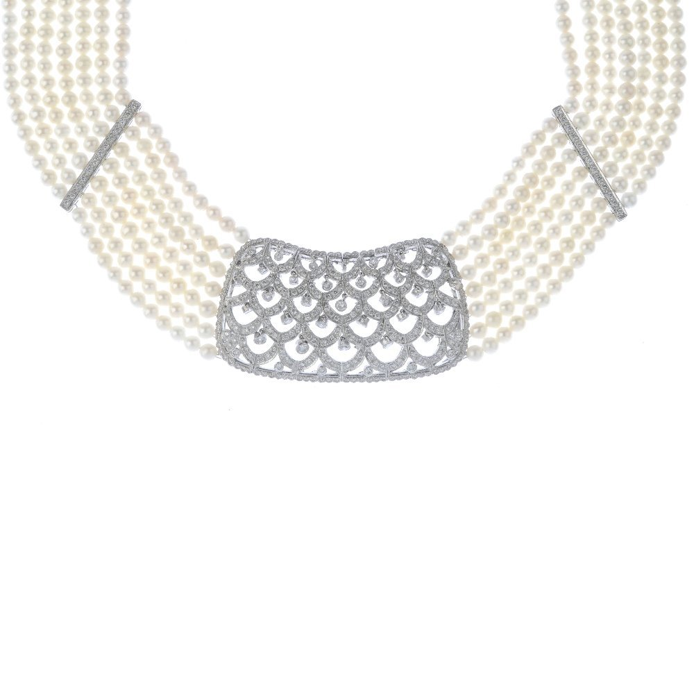 (130426-2-A) A diamond and cultured pearl collar.