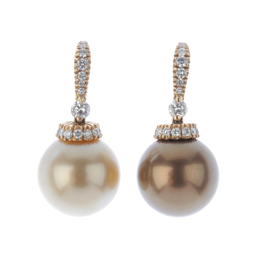 (130426-5-A) A pair of dyed cultured pearl and diamond