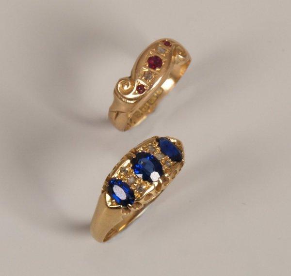 15: 18ct gold sapphire and rose cut diamond nine stone