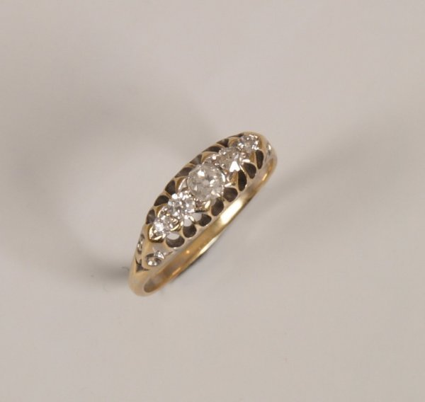 24: Five stone old european cut diamond set ring with s