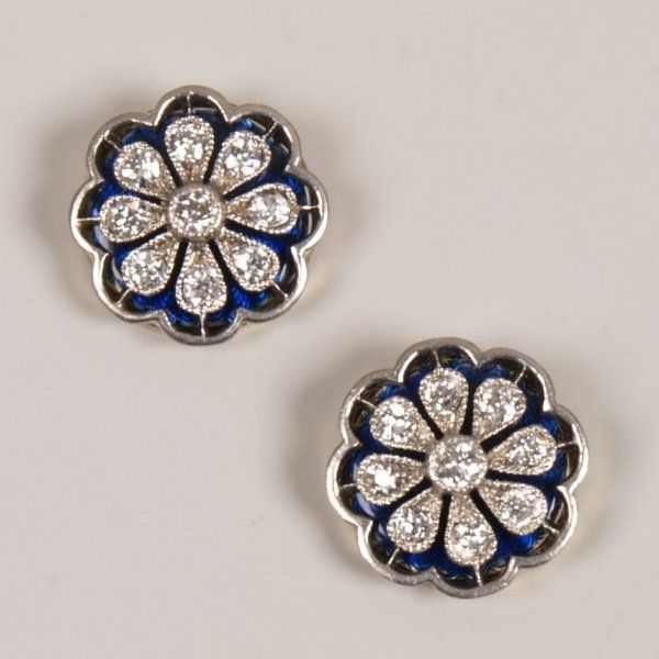 Pair of 18ct gold diamond and enamel cluster stud e