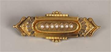 701: Victorian seed pearl set brooch, set seven central