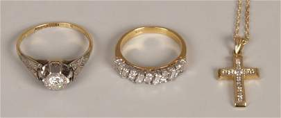 950 Three items of jewellery to include an 18ct gold a