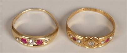 956: Two rings to include an Edwardian 18ct gold five s