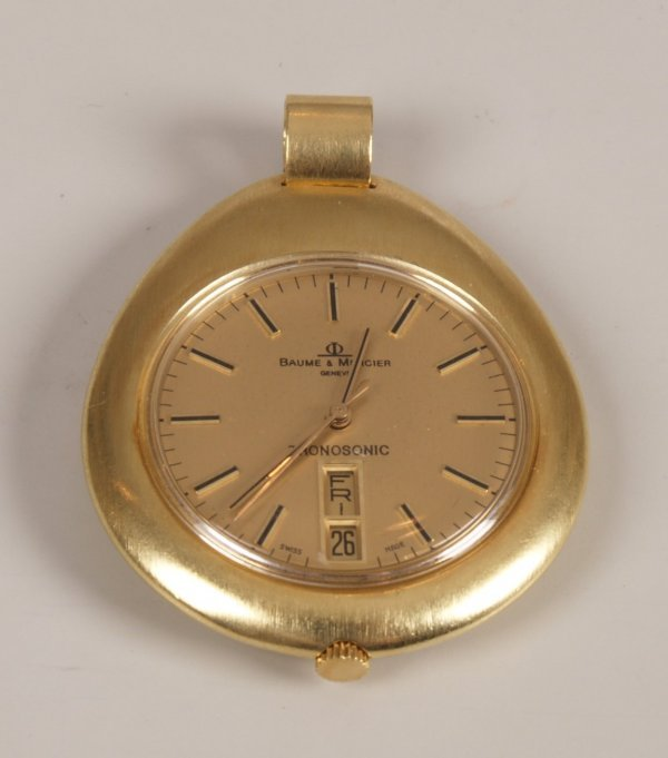 2003: BAUME & MERCIER - 18ct gold pear shape watch with