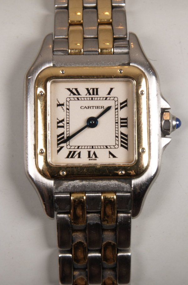 2023: CARTIER - a ladies steel and gold Panthere, cream
