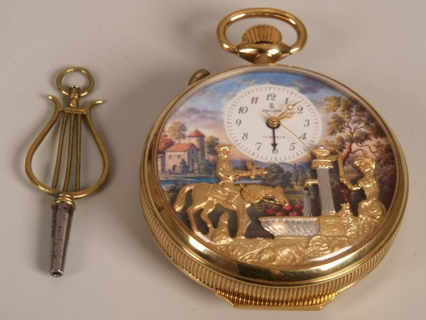 2495: A 20th Century gold plated top wind pocket watch