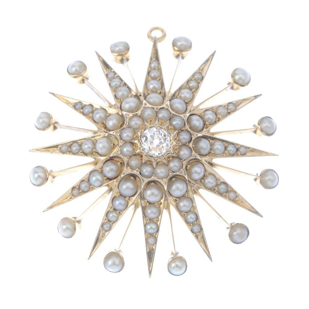 A diamond and split-pearl pendant. The old-cut diamond,