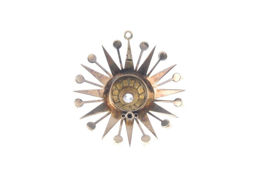 A diamond and split-pearl pendant. The old-cut diamond, - 2
