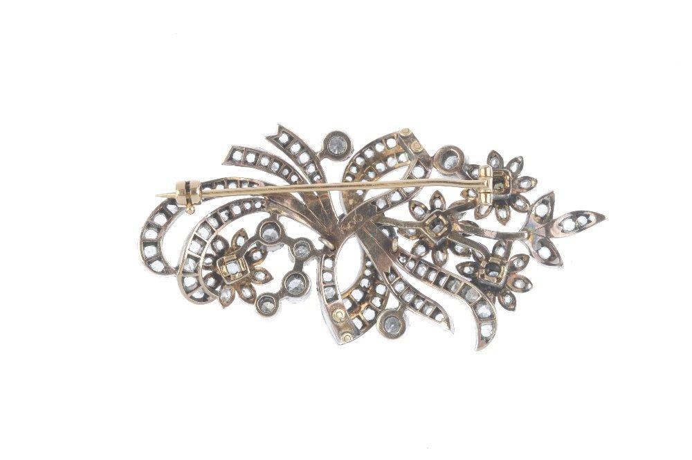 A diamond floral brooch. Designed as a rose-cut diamond - 2