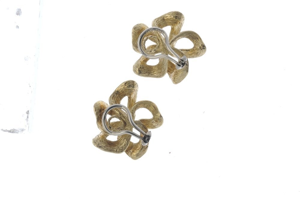 A pair of 1970s 18ct gold earrings. Each designed as an - 2