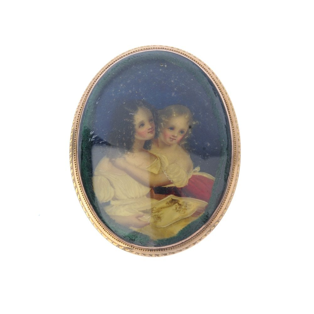 An early Victorian portrait brooch. Of oval outline,