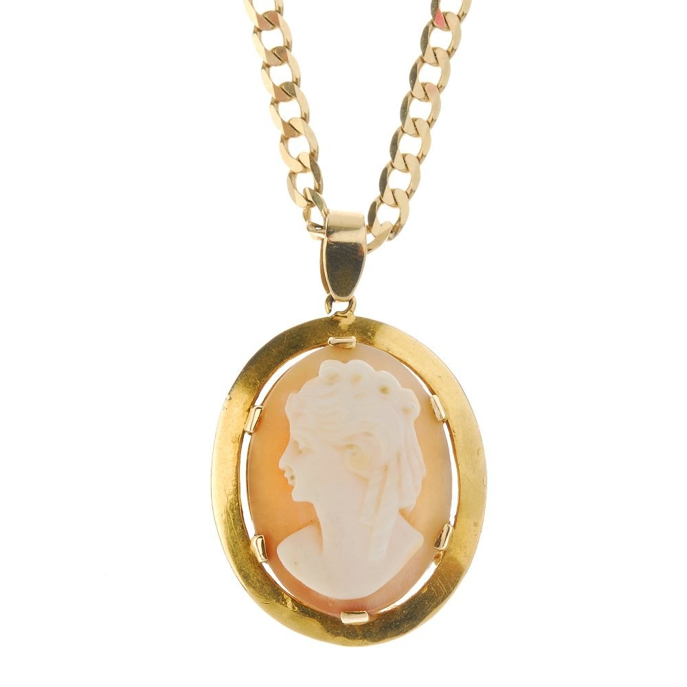 A 9ct gold cameo pendant and chain. To include a