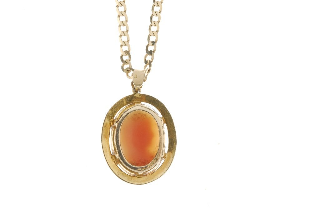 A 9ct gold cameo pendant and chain. To include a - 2