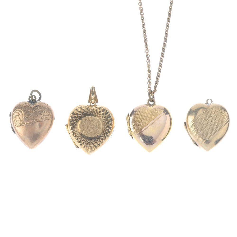 A locket and three 9ct front and back lockets. All of