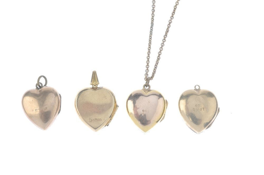 A locket and three 9ct front and back lockets. All of - 2