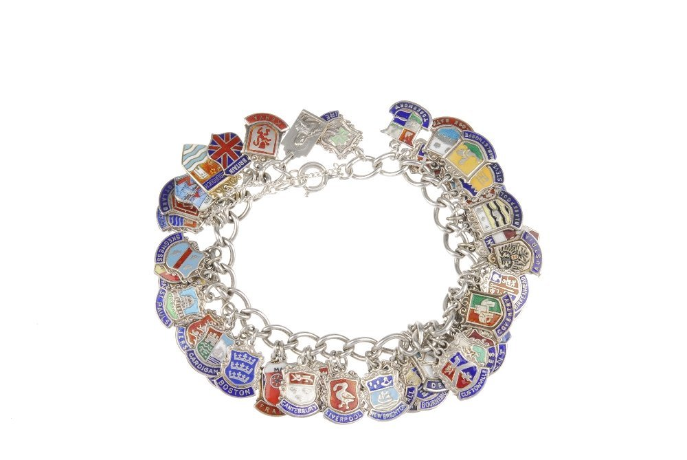 Two charm bracelets with mainly enamel tourist charms. - 3
