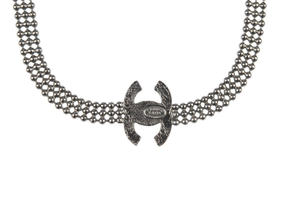 CHANEL - a necklace. The dark metal beaded necklace - 2
