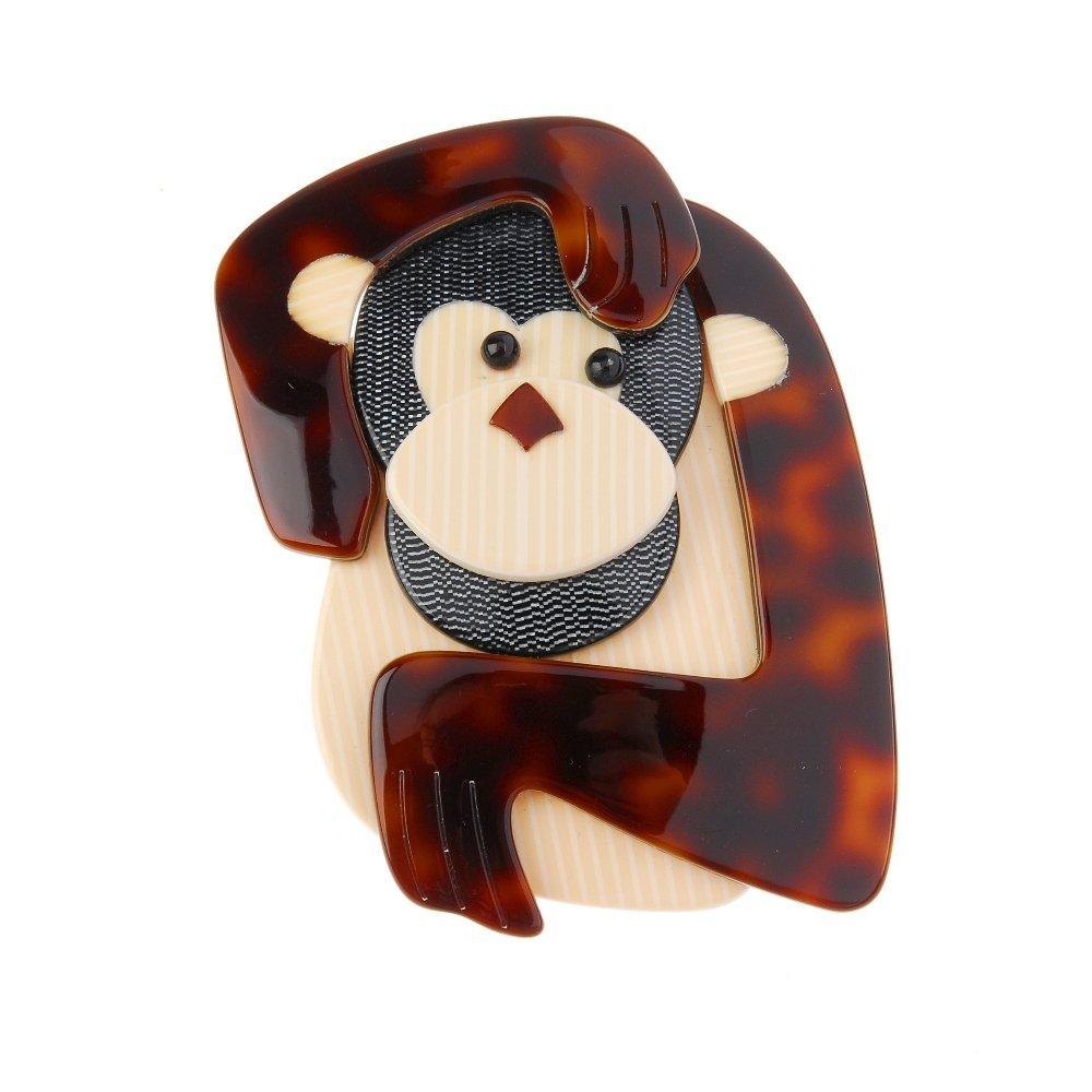 LEA STEIN - a monkey brooch. In vari-colour plastic