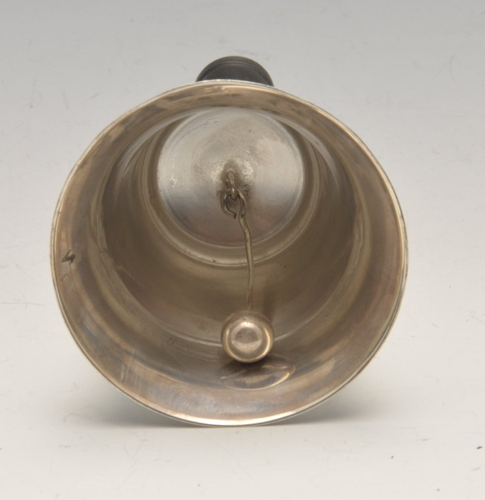 A modern silver mounted table bell, the plain campana - 3