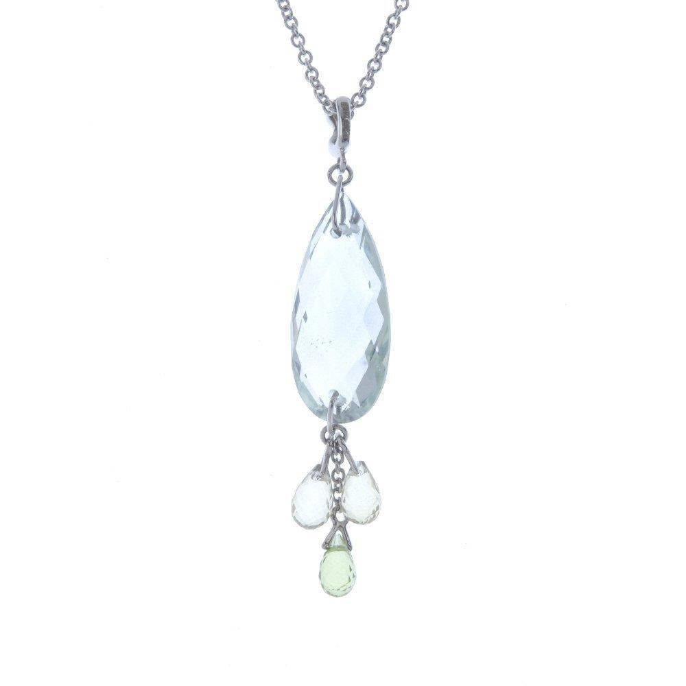 An 18ct gold diamond and gem-set pendant. Designed as a